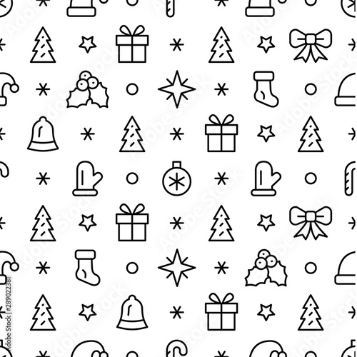 Simple Christmas seamless pattern with the symbols of the