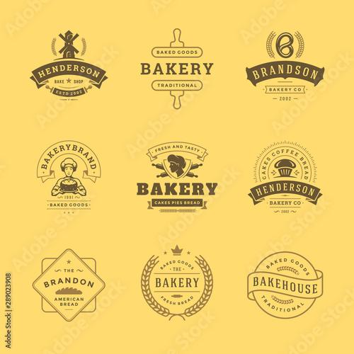 Carta da parati Bakery logos and badges design templates set vector illustration good for bakery shop and cafe emblems