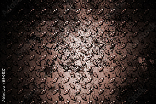 Photo  old and rust diamond plate. metal background and texture.