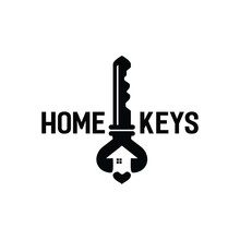 Logo Home Key House Vintage Silhouette With Love Heart In Middle For Construction Real Estate Building Business