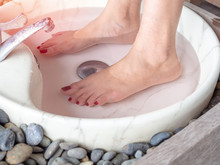 Female Feet In Foot Spa Marble...