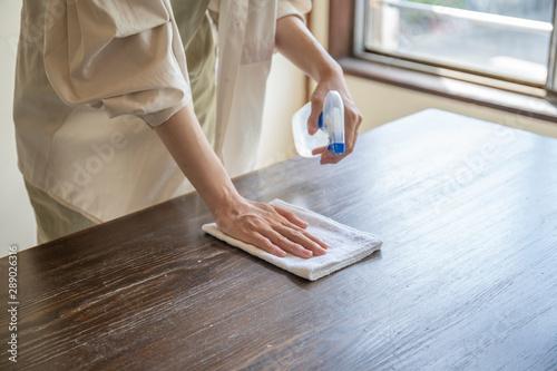 掃除をする女性の手元 Wallpaper Mural
