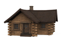 Wooden Log Cabin House Isolated
