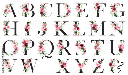 Floral alphabet, letters with watercolor pink flowers and leaf. Monogram initials perfectly for wedding invitations, greeting card, logo, poster and other. Holiday design hand painting.