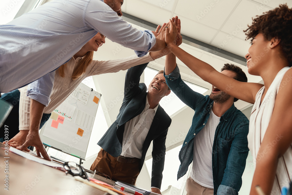 Fototapeta We did it Business people giving each other high-five and smiling while working together in the modern office