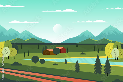 Canvas Prints Green coral Country scenic house in the forest, illustration
