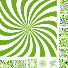 Green And White Vector Spiral Design Background Set. Different Color, Gradient, Screen, Paper Size Versions.