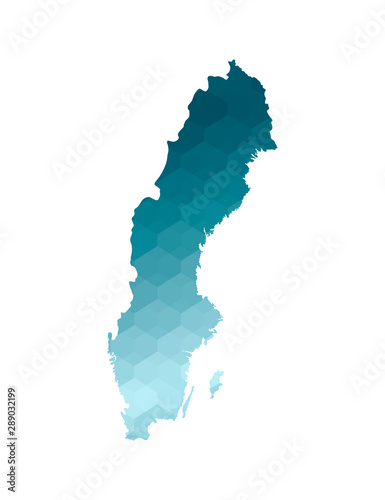 Canvas Print Vector isolated illustration icon with simplified blue silhouette of Sweden map