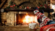canvas print picture - Woman legs with christmas socks and fireplace