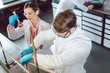 Leinwanddruck Bild Scientists working in the laboratory on a new chemical compound