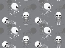 Cute Skeleton Cartoon Grey Background Seamless Wallpaper