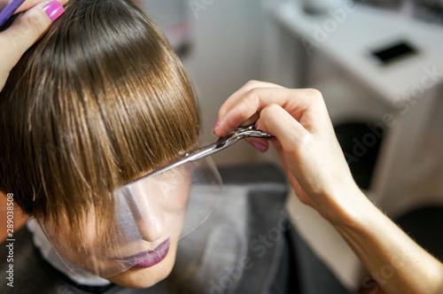 Fotografie, Obraz  Stylist hairdresser doing haircut