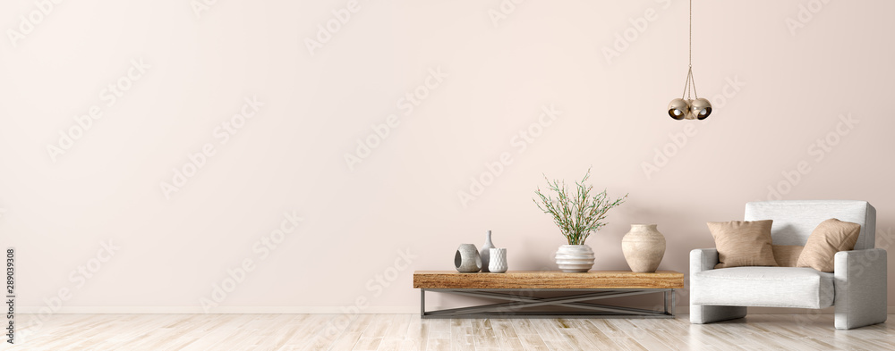 Fototapeta Interior of living room with armchair and coffee table 3d rendering