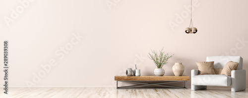 obraz dibond Interior of living room with armchair and coffee table 3d rendering