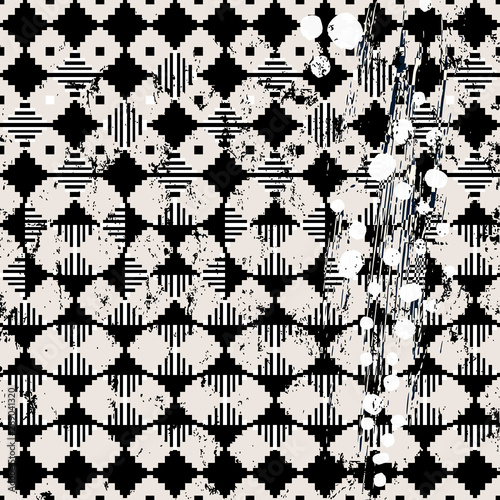 abstract background pattern, with squares, strokes, splashes and geometric lines, black and white, seamless
