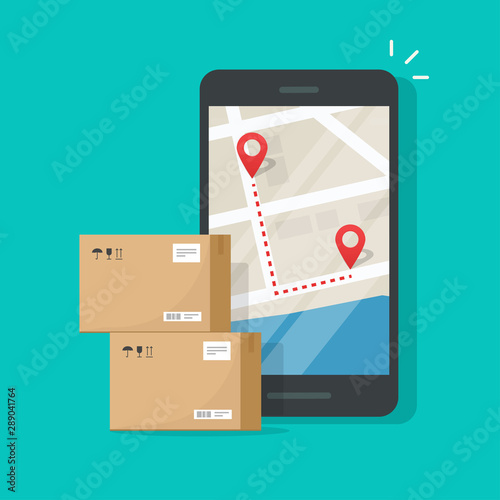 Cuadros en Lienzo  Parcel delivery tracking on cellphone or mobile phone vector, flat cartoon smart