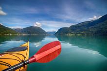 Kayaking On The Fjord, Yellow Kayak Red Paddle, Boat