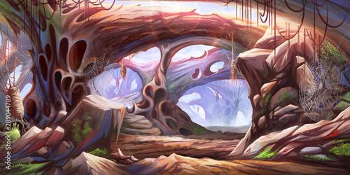 Wersja udoskonalona w jaskini. Science Fiction Naturalne tło. Grafika koncepcyjna Realistyczna ilustracja. Grafika komputerowa Grafika komputerowa. Krajobrazy.