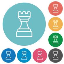 White Chess Rook Flat Round Ic...
