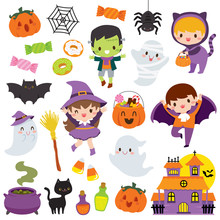Halloween Clipart Set With Cut...