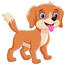 Vector Illustrator Of Happy Dog Cartoon Isolated On White Background
