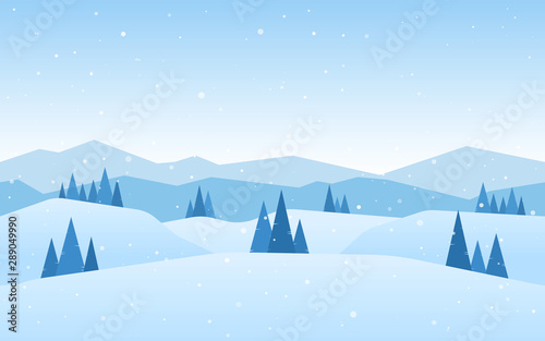 Foto auf AluDibond Licht blau Blue Winter Mountains landscape with pines and hills.