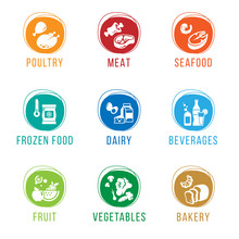 Grocery Store - Food Department Icon Sign Vector Set Design