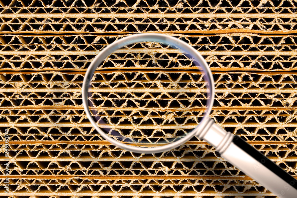 Fototapety, obrazy: Recycled corrugated cardboard background with overlapping panels - Concept image seen through a magnifying glass