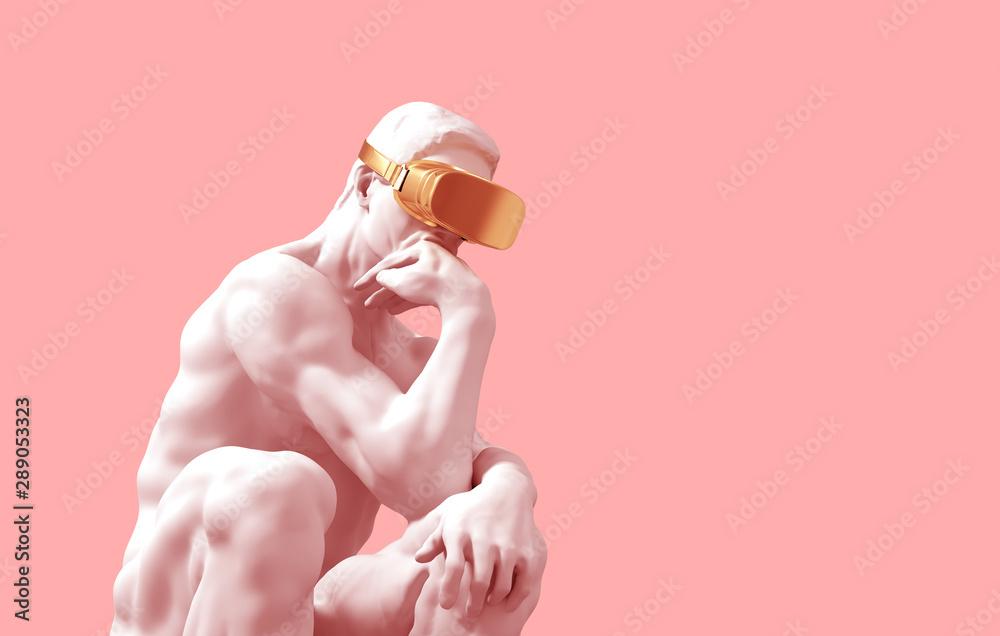 Fototapeta Sculpture Thinker With Golden VR Glasses Over Pink Background