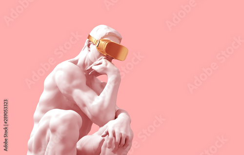 Sculpture Thinker With Golden VR Glasses Over Pink Background