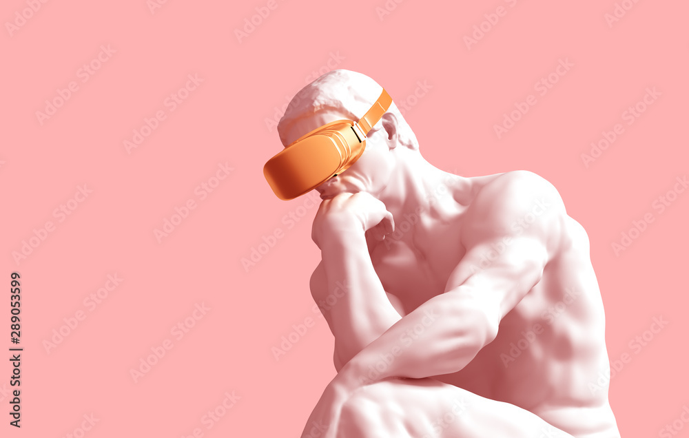 Fototapeta Sculpture Thinker With Golden VR Glasses On Pink Background