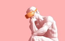 Sculpture Thinker With Golden ...