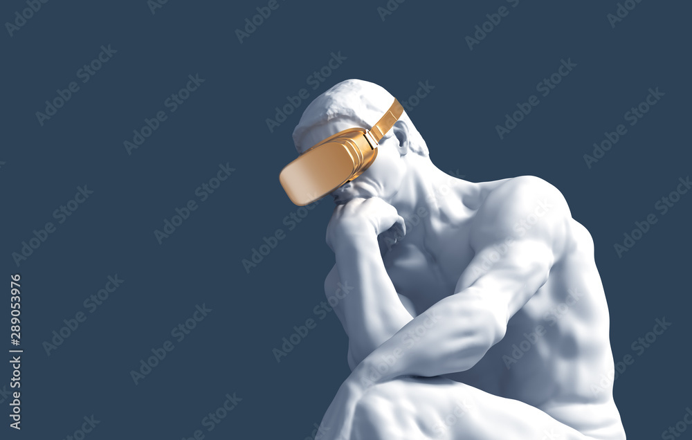 Fototapeta Thinker With Golden VR Glasses Over Blue Background