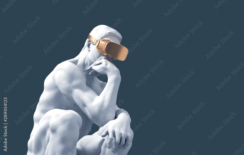 Fototapeta Sculpture Thinker With Golden VR Glasses On Blue Background