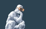 Sculpture Thinker With Golden VR Glasses On Blue Background - 289054123