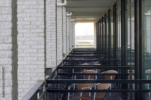 Adjacent balconies in a building in the Netherlands Wallpaper Mural