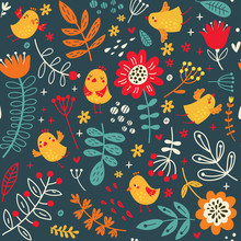 Floral Background With Cute Bi...