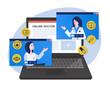 Illustration of online doctor. Online medical consultation concept
