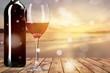 Leinwanddruck Bild Bottle and Glass of Red Wine