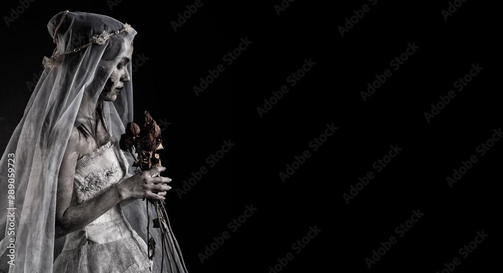 Fototapeta Horror Scene of a Possessed bride Woman ghost halloween in dark oom