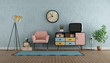canvas print picture Colorful living room in vintage style