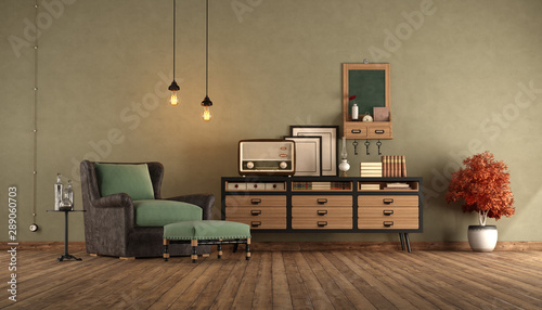 Poster Retro Reatro living room with armchair and sideboard