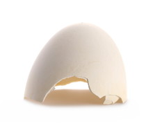 Cracked Eggshell Isolated On White Background