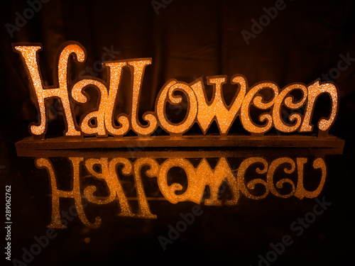 Orange Halloween Sign with Reflective Surface