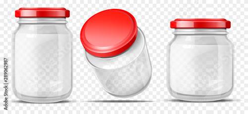 Obraz Empty, round, different volume glass jars sealed red screw cap for sauces, vegetable preservation side, top perspective view 3d realistic vector illustrations set isolated on transparent background - fototapety do salonu