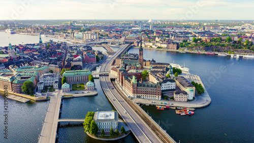 Foto auf AluDibond Stockholm Stockholm, Sweden. Old Town - Gamla Stan. Riddarholmen. Aerial view, From Drone
