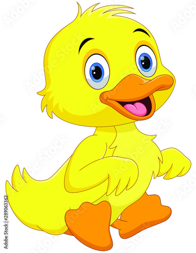 Fotografie, Tablou  Cute duck cartoon waving isolated on white background