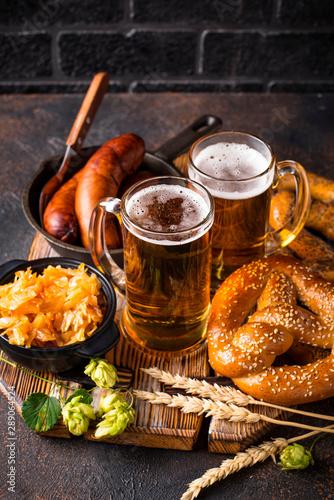 Photo  Beer, pretzels and Bavarian food