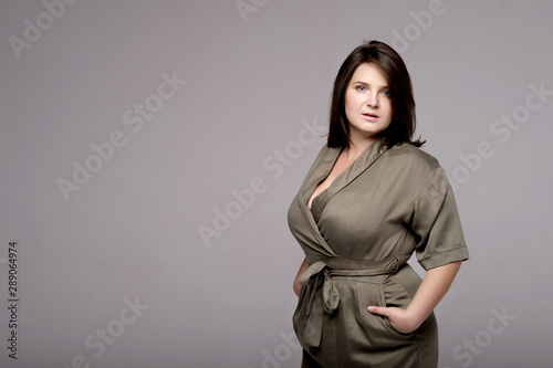 Tablou Canvas plus size model on gray background