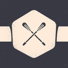 Grunge Crossed Paddle Icon Isolated On Grey Background. Paddle Boat Oars. Monochrome Vintage Drawing. Vector Illustration